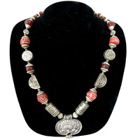 Red Bead & Silver metal western Necklace