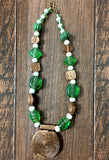 Green & white Beads with Lakh/lac Pendants necklace UN16307