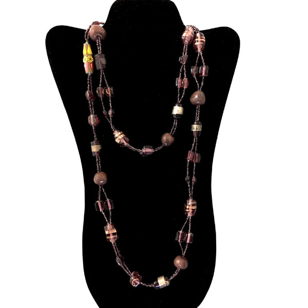 Stone and Glass Beads Long Necklace/festoons