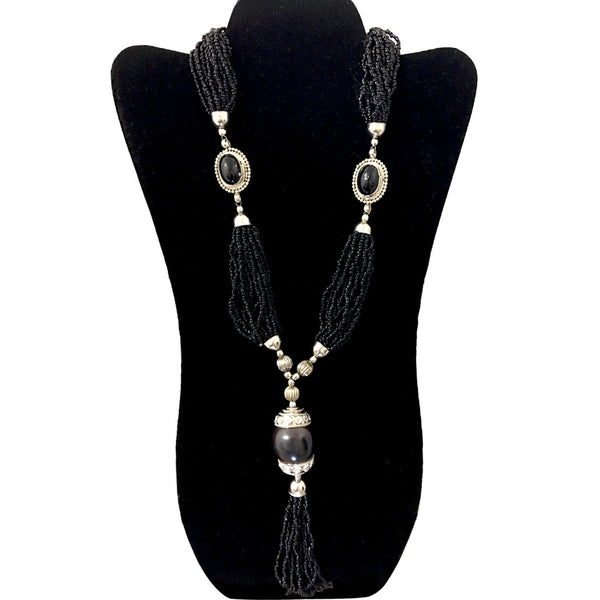Multi layered black color seed bead Necklace Jewelry