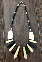Black, Brown & Cream color Handcrafted wooden Beads necklace Jewelry
