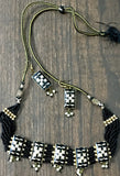 Black & Golden Hand-made necklace and earring lakh/Lac jewellery set
