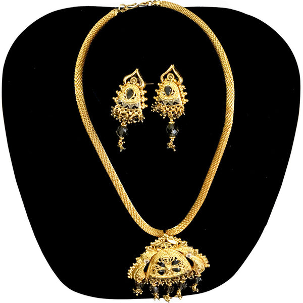 Gold Plated pendants and earrings sets with Black stones, necklace Jewelry