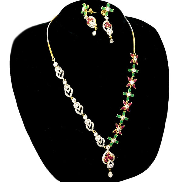 Gold Plated Multi Color Necklace Set UNS16403