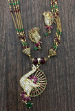 Peacock Design Gold Necklace with earrings sets jewelry