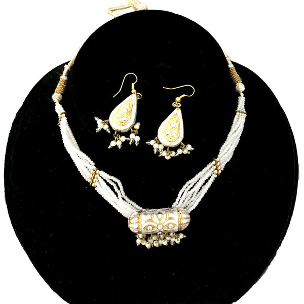 White & Golden Hand-made necklace and earring lakh/Lac jewellery set