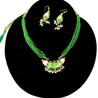 Green & Golden Hand-made necklace and earring lakh/Lac jewellery set