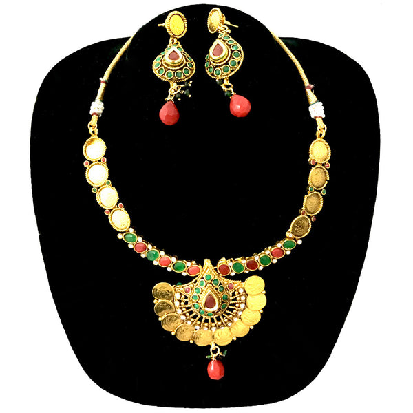 Designer Gold Plated Temple Coin Necklace With Earrings Sets jewelry
