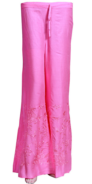 Heavy Embroidered Light Pink Rayon Palazzo Pants/Palazzo Trouser