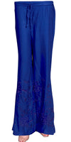 Beautiful Embroidered Blue Rayon Palazzo Pants/Palazzo Trouser