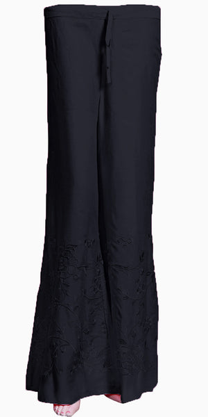 Heavy Embroidered Black Color Rayon Palazzo Pants/Palazzo Trouser