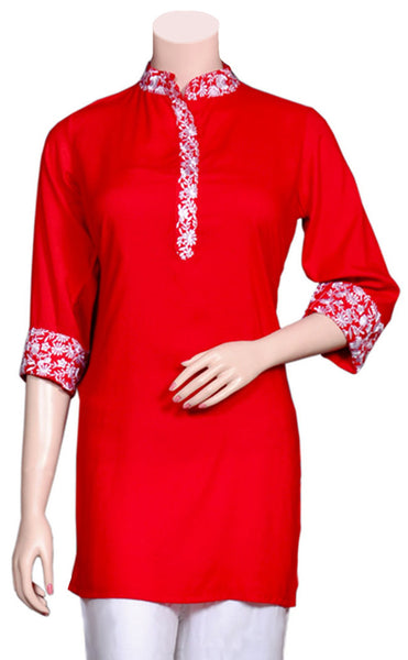 Beautiful White Color Embroidery on Rayon Fabric Red Kurti/Tunic