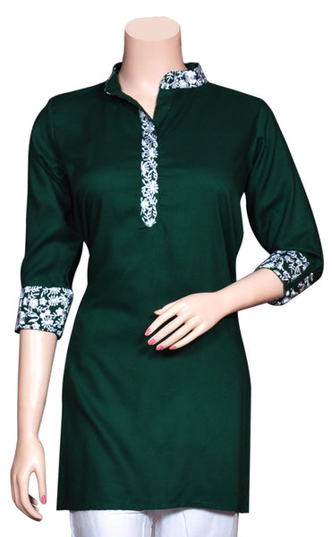 Bottle Green & White Embroidered Kurti