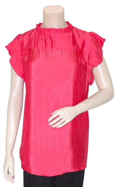 Salmon Pink Silky Top/Blouse