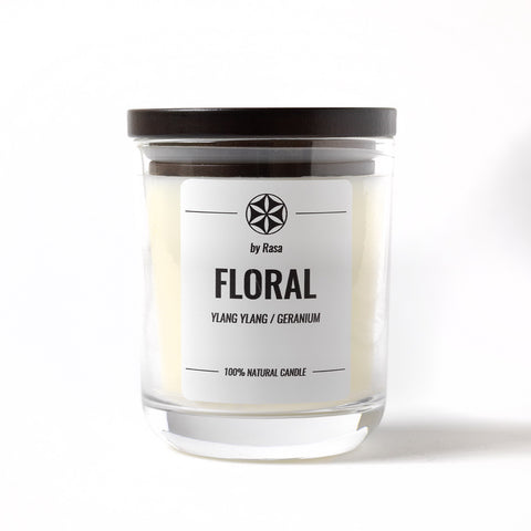 FLORAL by Rasa 100% Natural candle YLANG YLANG/ BERGAMOT 480 g. 180 ml. 55 - 60 hrs.