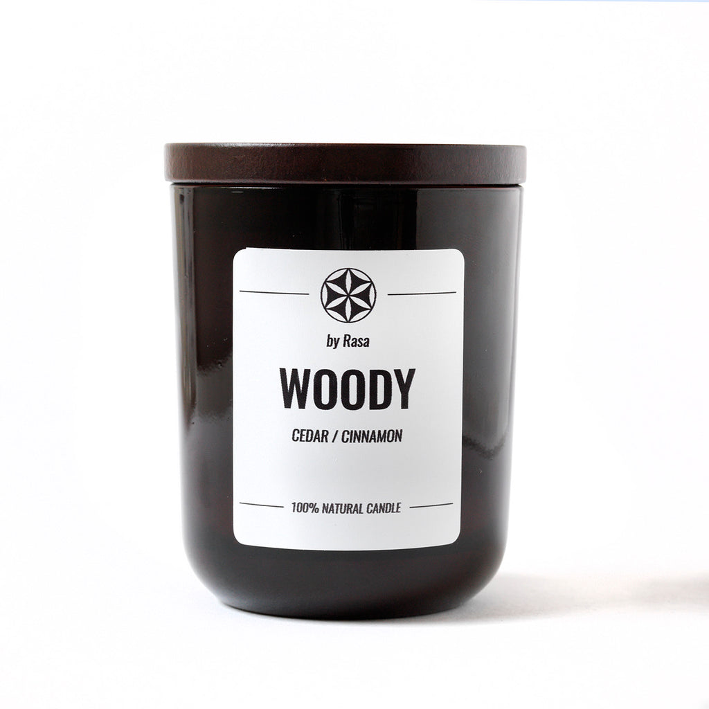WOODY 100% natural candle CEDAR / CINNAMON 480 g. 180 ml.