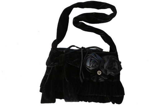 Bag - Black Velvet Shoulder Bag
