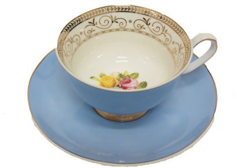 Blue Cup and Saucer Set Vintage Royale