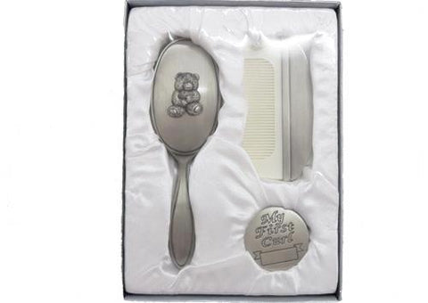 Comb, 1st Curl and Brush Set Pewter