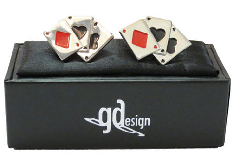 Cufflinks Playing Card with Red Diamond