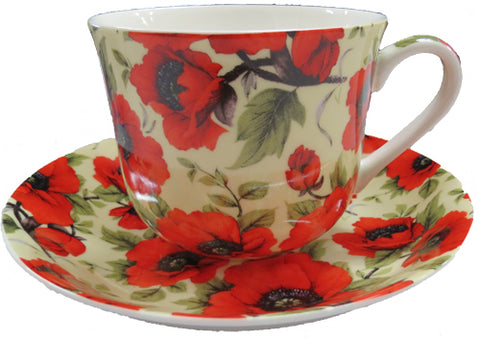 Cup and Saucer set Red Poppy