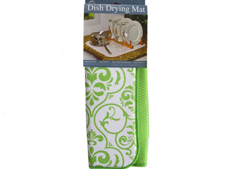 Dish Drying Mat Lime Damask