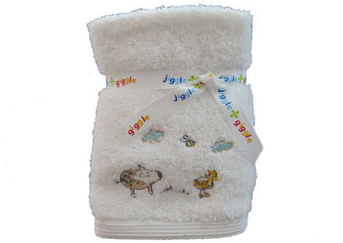 Face washer pack set of 3 baby animals