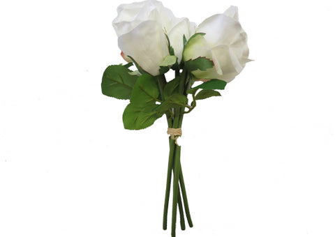 Flower Bouquet - Roses with White Leaves