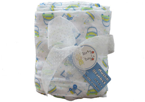 Muslin Wraps Set of 2 Blue