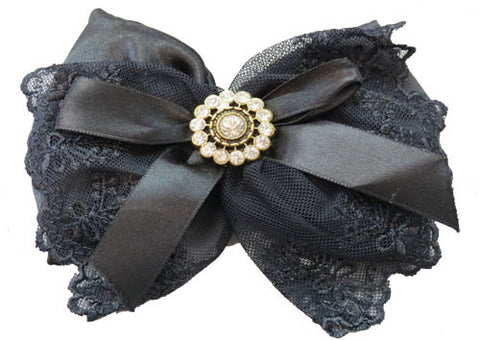 Sachet Fragranced Satin Lace Bow - Black