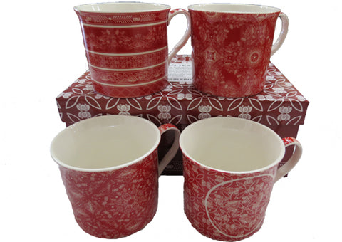 Set of 4 Indian Textile Red