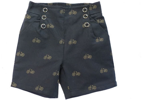 Shorts Navy Bicycle Pattern
