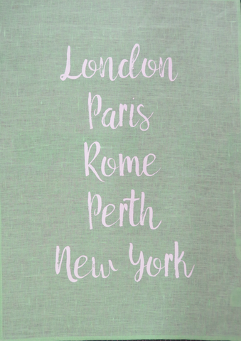 Tea Towel Perth and World Cities Mint