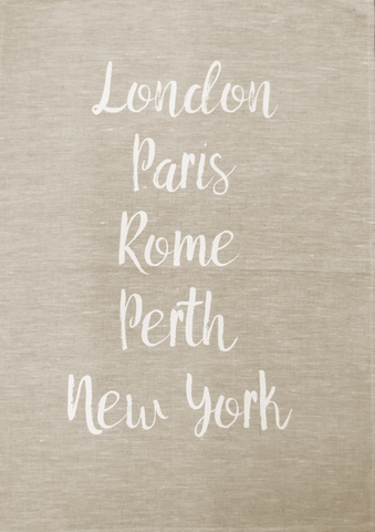 Tea Towel Perth and World Cities Natural