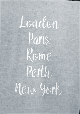 Tea Towel Perth and World Cities Pale Blue