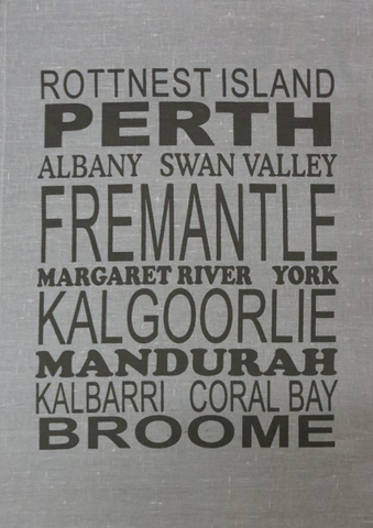Tea Towel Perth and WA (Charcoal) - Perth and WA Favourite Places