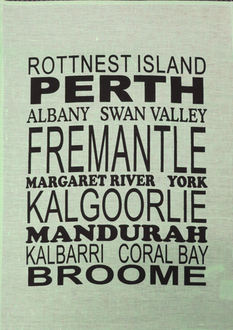 Tea Towel Perth and WA (Mint) - Perth and WA Favourite Places