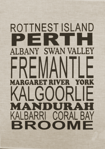 Tea Towel Perth and WA (Natural) - Perth and WA Favourite Places