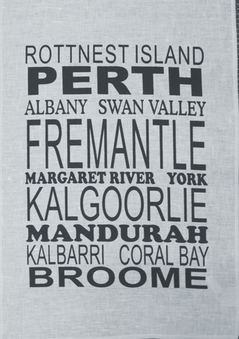 Tea Towel Perth and WA (Pale Blue) - Perth and WA Favourite Places
