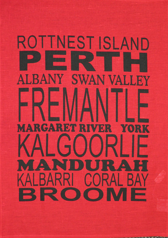 Tea Towel Perth and WA (Red) - Perth and WA Favourite Places