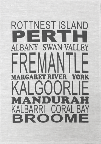 Tea Towel Perth and WA (White) - Perth and WA Favourite Places