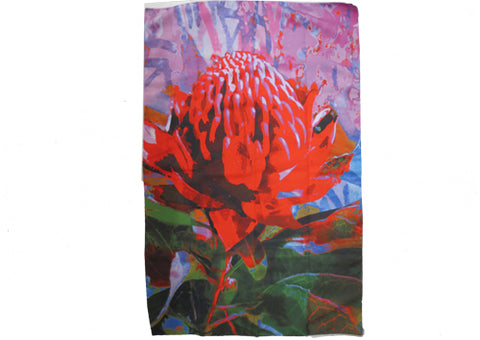 Tea Towel Microfibre Blue Waratah
