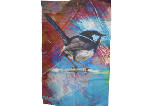 Tea Towel Microfibre Blue Wren