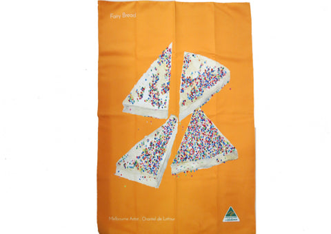 Tea Towel Microfibre - Fairy Bread Orange