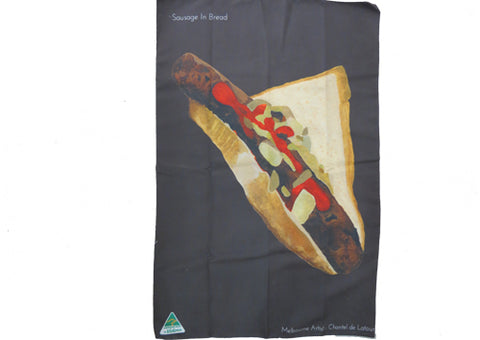 Tea Towel Microfibre - Sausage in Bread Brown