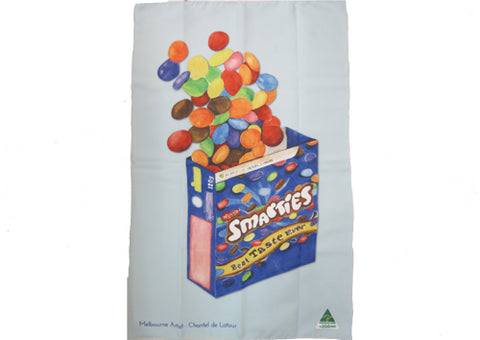 Tea Towel Microfibre - Smarties Blue