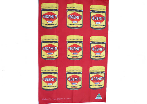 Tea Towel Microfibre - Vegemite Red Multi