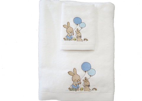 Towel and Face Washer Set Boy Bunny