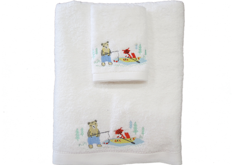 Towel and Face Washer Set Fishing Bear