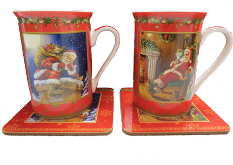 XMas 2 cup and coaster set